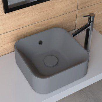 Vasque A Poser Resine De Synthese L 38 X P 38 Cm Gris Anthracite Sensea Capsule Vasque A Poser Vasque Et Lave Main Wc
