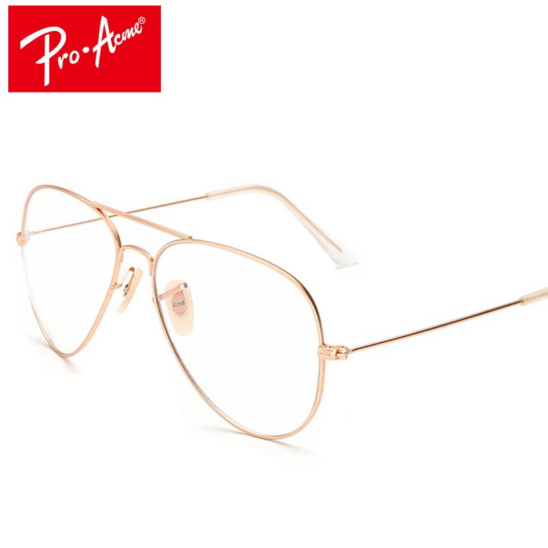 c8303a765d8db Pro Acme Fashion Women Aviation Stainless Steel Glasses Frames Men Brand  Gold Clear Lens Eye Glasses