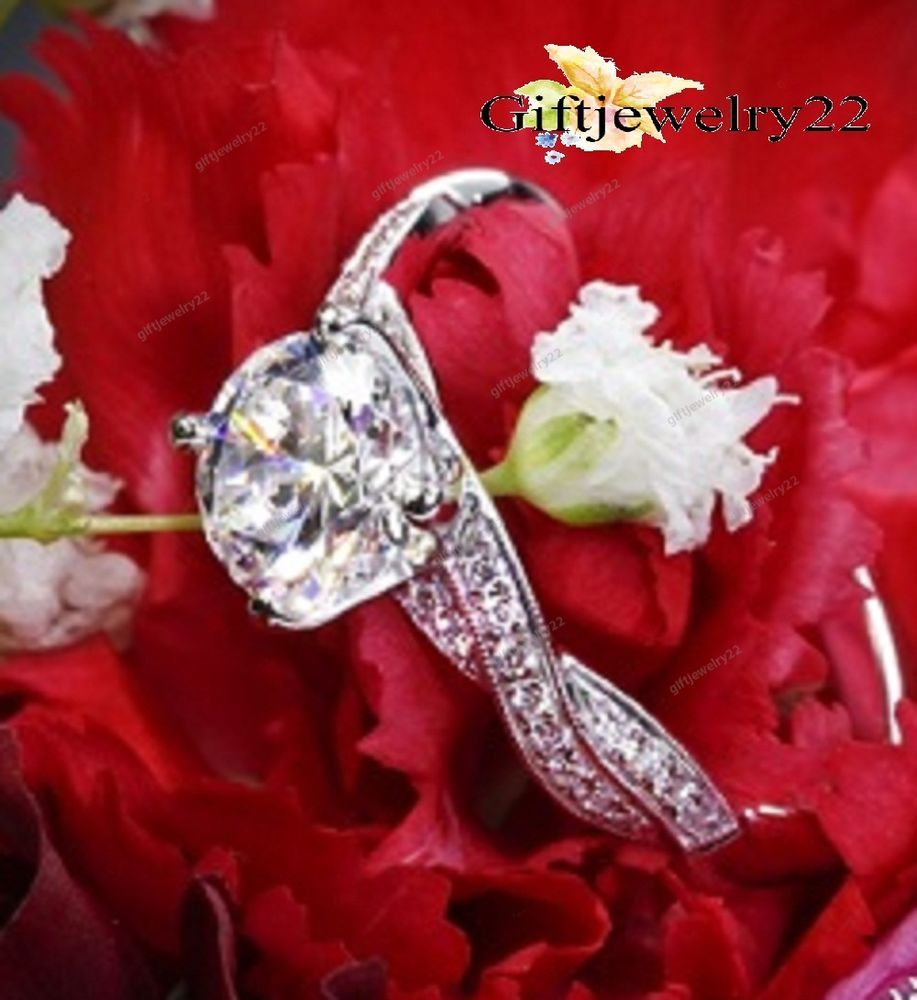 925 Sterling Silver Brilliant Cut Round Diamond Engagement Wedding Ring 0.90 CT. #giftjewelry22 #SolitaireWithAccents
