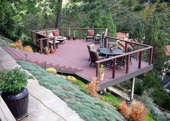 Waters wise landscape design hillside deck pinterest for Garden design on a slope