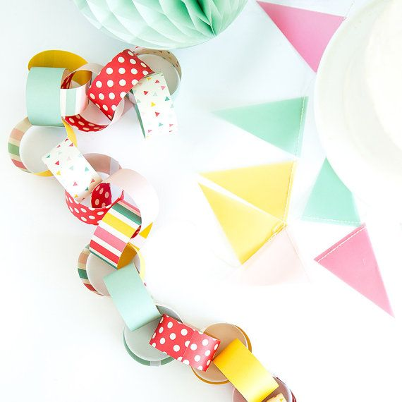 Paper Chain Garland, Party Decorations, Paper Garland, Birthday Party  Garland, Paper Chain