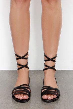 9f427fd506f4fc Desert Highness Black Leg Wrap Sandals at Lulus.com!