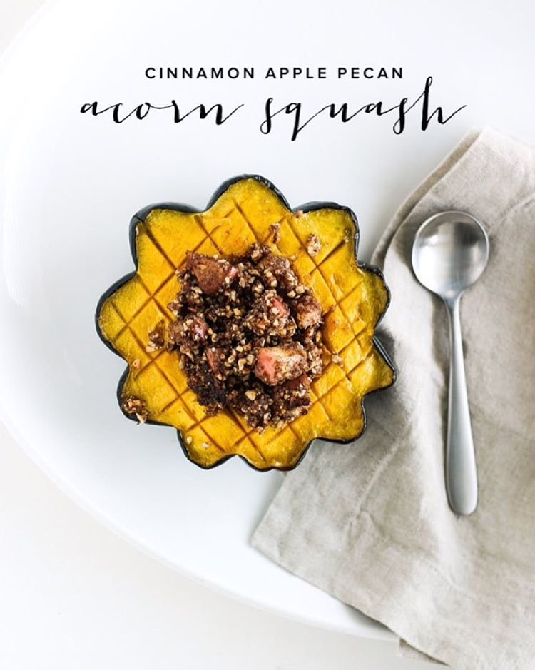 """""""This apple pie spiced pecan apple stuffed acorn squash tastes like Fall  in your mouth! It is a perfect side dish and if you're feeling really wild you…"""""""