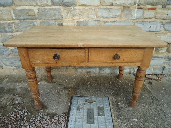 Antique Scrubbed Pine Farmhouse Kitchen Table With Drawers Pine Coffee Table Pine Furniture Farmhouse Kitchen Tables