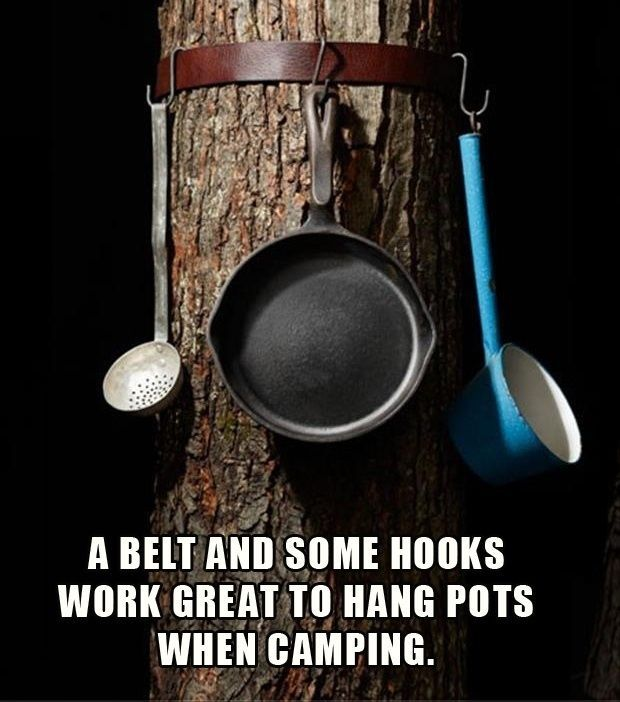 Photo of Use a belt and hooks to hang up pots and pans.