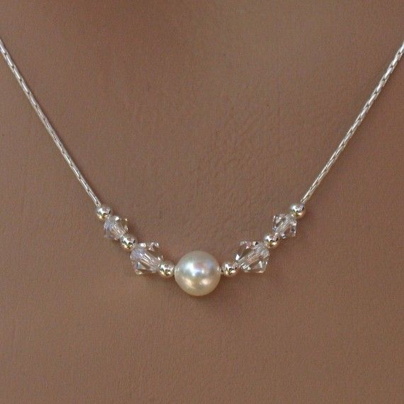 Bridal Necklace and Earring Set - Swarovski Single Pearl and Crystals on Sterling Silver Chain Necklace and Earring Set