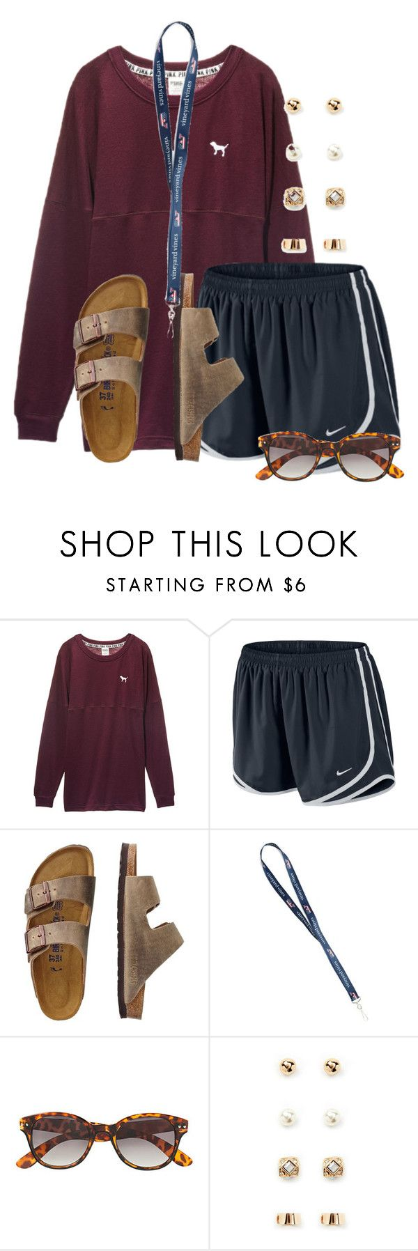 """""""Going out for ice cream after dinner for a last hoorah before school tomorrow"""" by flroasburn ❤ liked on Polyvore featuring Victoria's Secret, NIKE, TravelSmith, H&M and Forever 21"""