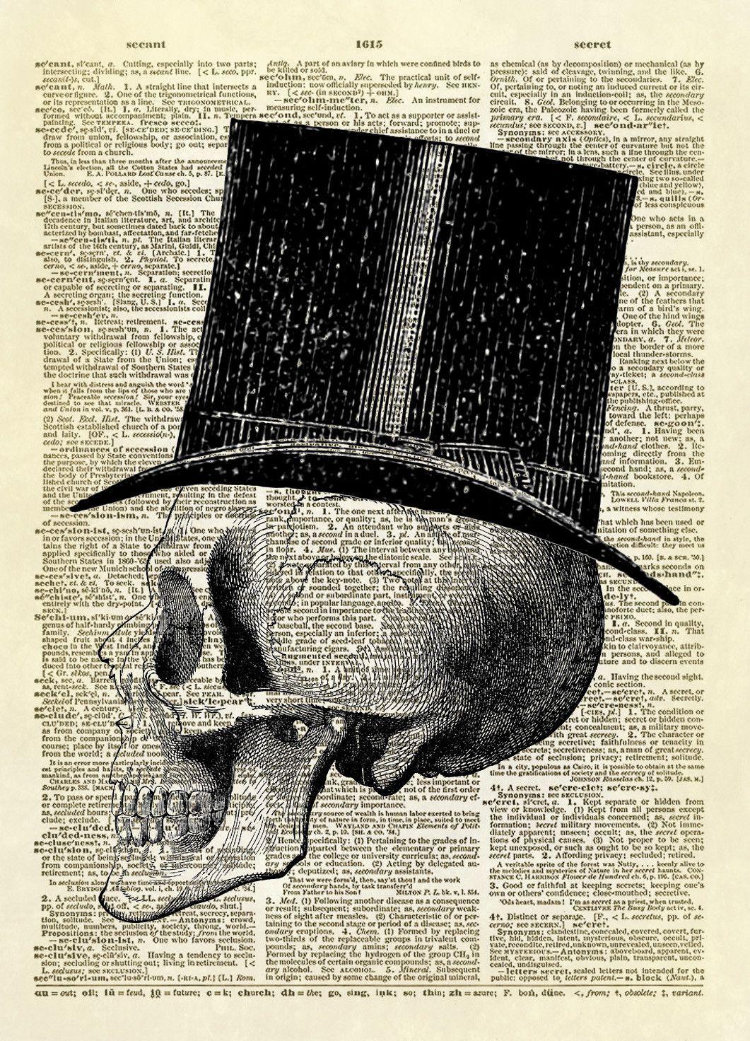 halloween human skull with top hat dictionary art print | abh