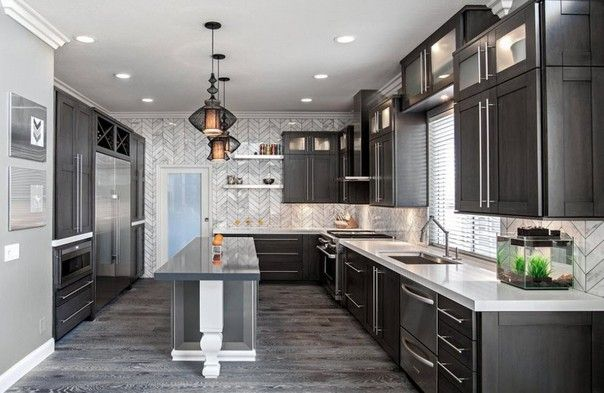 Backsplash Light Grey Shaker Style Kitchen Cabinet Painted In Benjamin Moore 1 Modern Kitchen Interiors Kitchen Interior Design Modern Farmhouse Kitchen Design