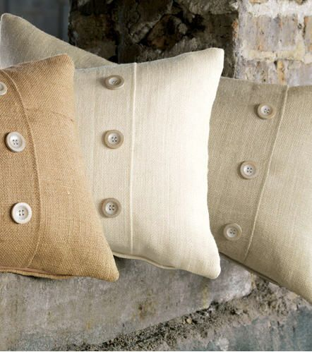 Rustic Burlap Decorative Pillows With Buttons. Http://www.jbrulee.com
