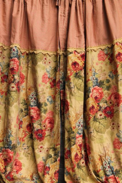 Vintage Roses Print Curtains Fabric Lot Waverly Norfolk Rose