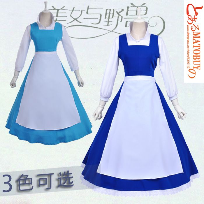 15e4f587c4d La bella y la bestia Belle cosplay traje de la muchacha vestidos nuevos  trajes Princesa de manga larga linda Snow White Dress para mujeres(China  (Mainland))