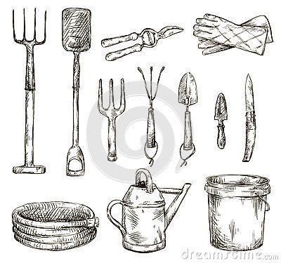 Set of gardening tools drawings, vector illustrations