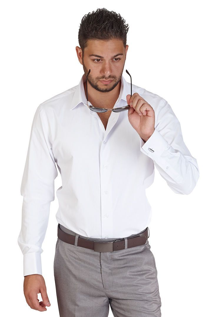 Tailored Slim Fit Mens French Cuff Black Dress Shirt Wrinkle-Free By AZAR MAN