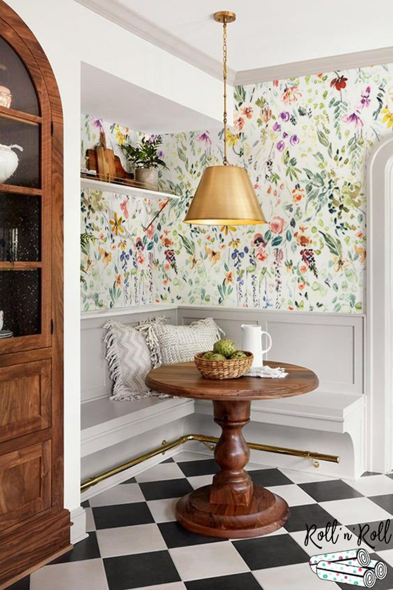 Wild Flowers Removable Wallpaper Garden Flowers Wall Mural Watercolor Bright Wallpaper Colorful Wall Decor Wall Decals 41 In 2021 Home Decor Kitchen Wallpaper Decor