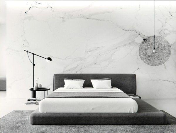 Luxus Schlafzimmereinrichtung Marmor Imitation Wand Bequemes Bett