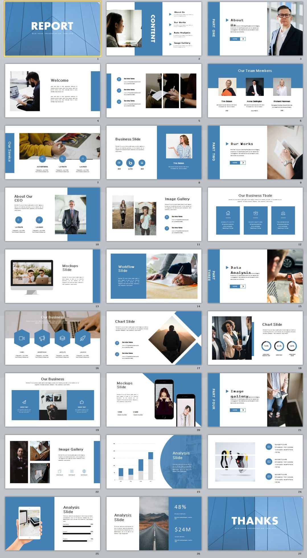 27+ blue report ppt template