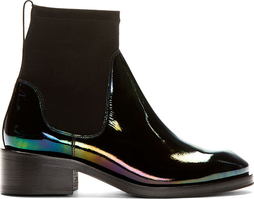 Acne Studios Black Patent Leather Oil Slick Chelsea Boots Black Patent Leather Boots Boots Chelsea Boots