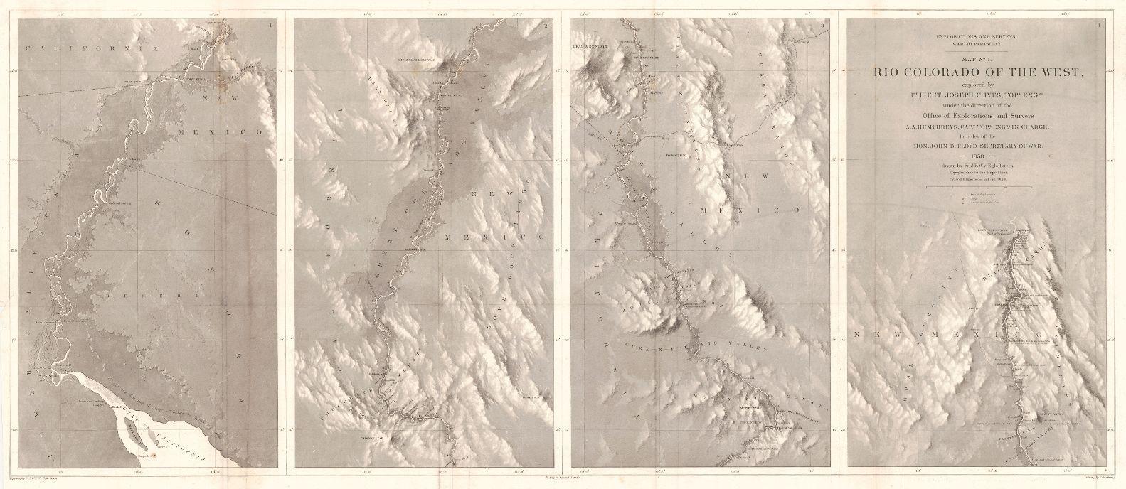 Map Of Arizona 1858.Explorations And Surveys War Department Map No 1 Rio Colorado Of