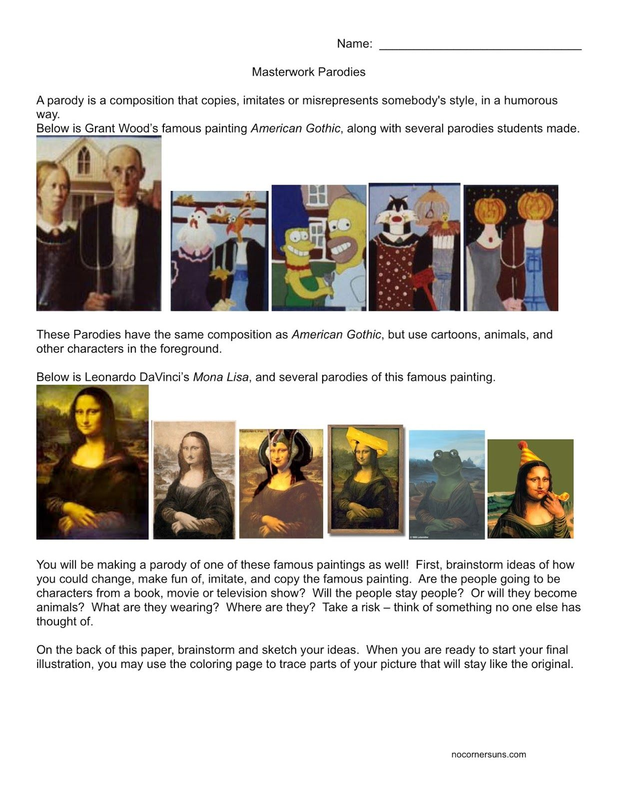 american gothic mona lisa parody lesson and handout includes