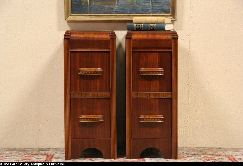 Best Art Deco Waterfall 1935 Pair Of Nightstands Or Bedside 400 x 300