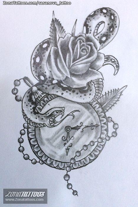 Dise o de relojes serpientes rosas tatuajes tattos - Relojes de diseno ...
