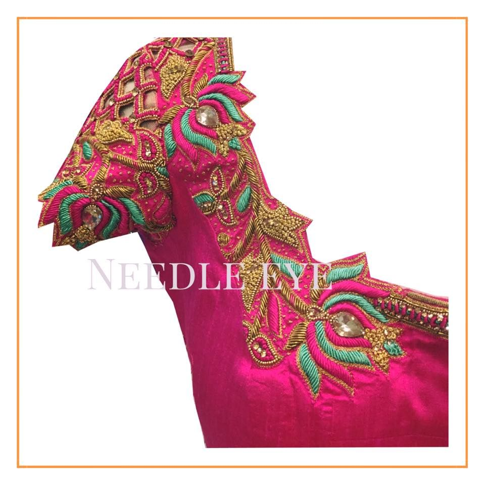 The traditional lotus designs that we love on the blouses. Beautiful ...