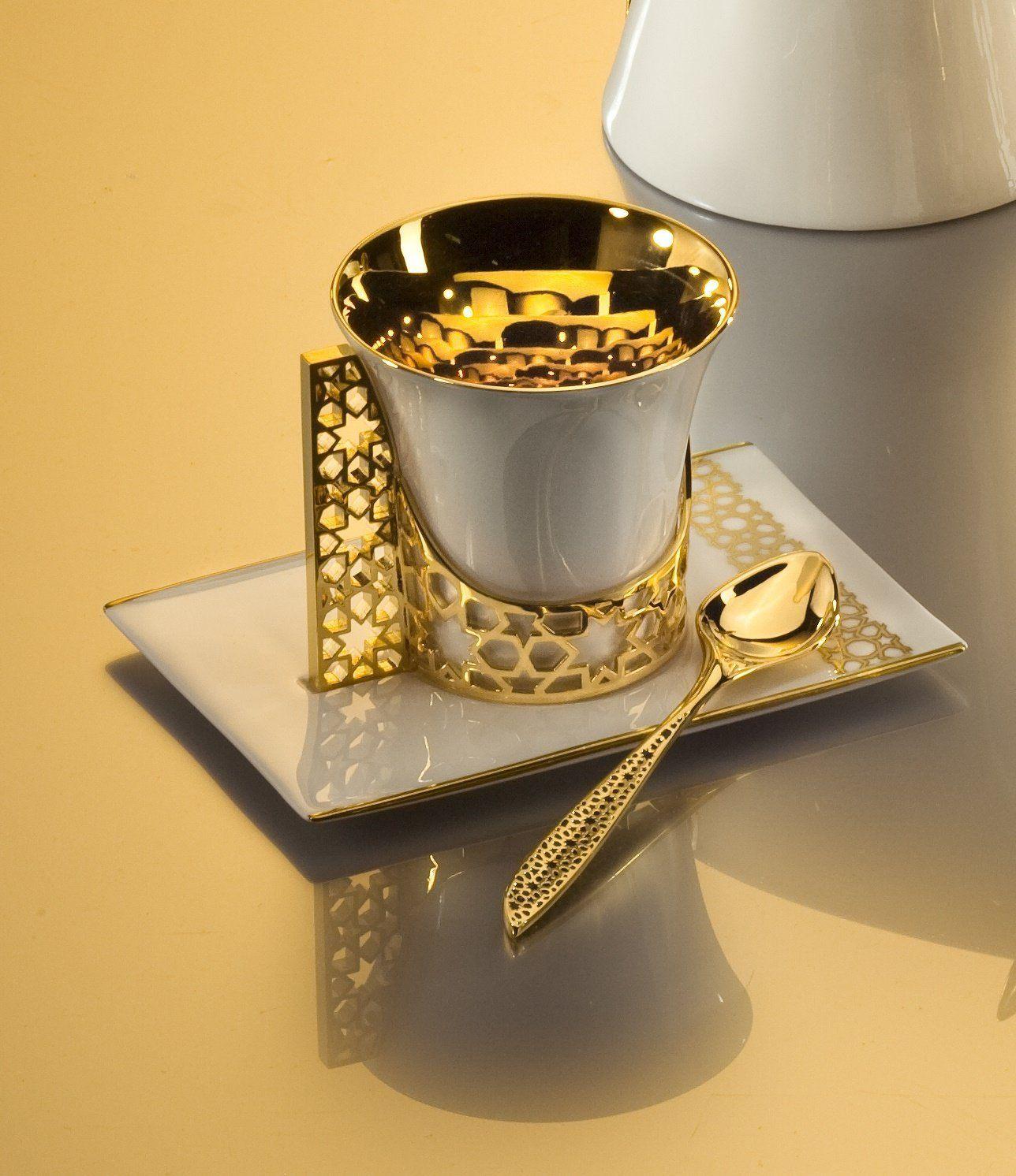 Amazon.com: 18K Gold Plated Arabesque Fine Bone China Porcelain ...