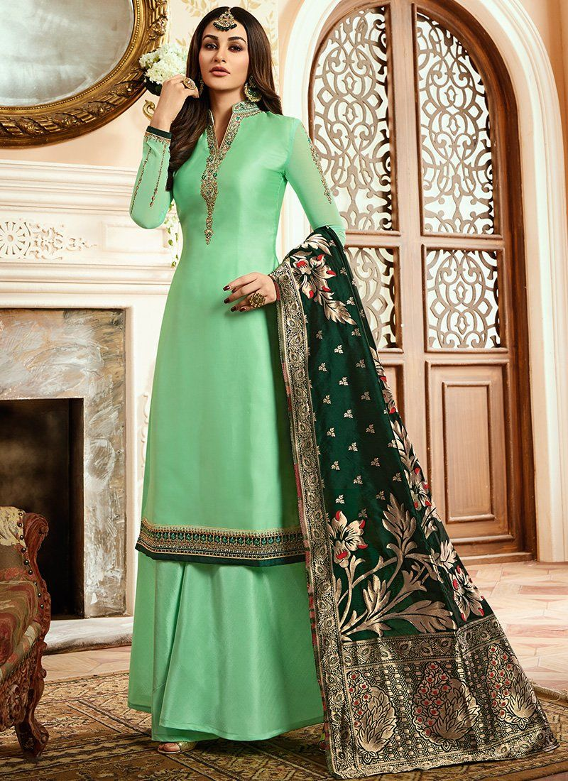 0671396344 Mint Green and Dark Green Satin Georgette Palazzo Suit | Indian ...