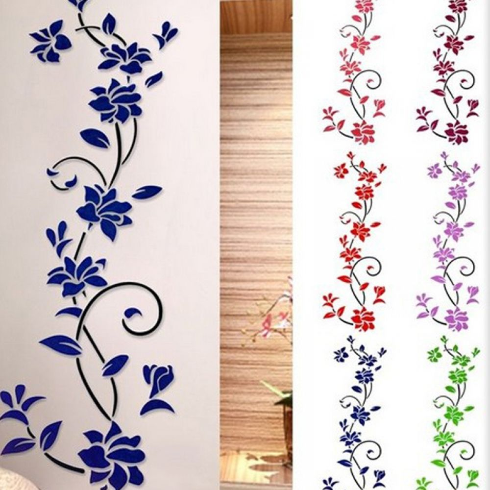 3d stereo flower vine acrylic mirror wall stickers on wall stickers 3d id=62415
