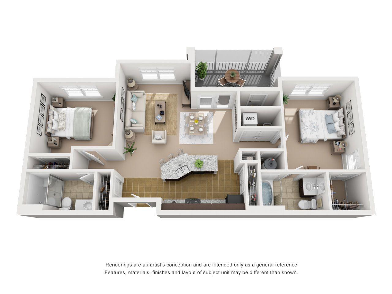 Floor Plans Cottage Trails At Culpepper Landing Apartments In Chesapeake Va Spacious Apartments Disenos De Casas Casas Disenos De Unas