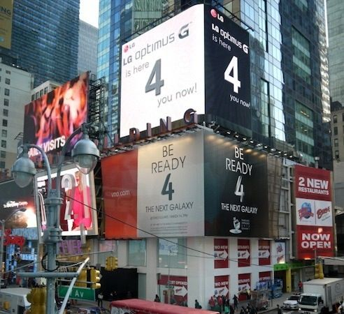 Times Square Troll: LG überstrahlt Samsungs Galaxy S4-Werbung - Engadget German