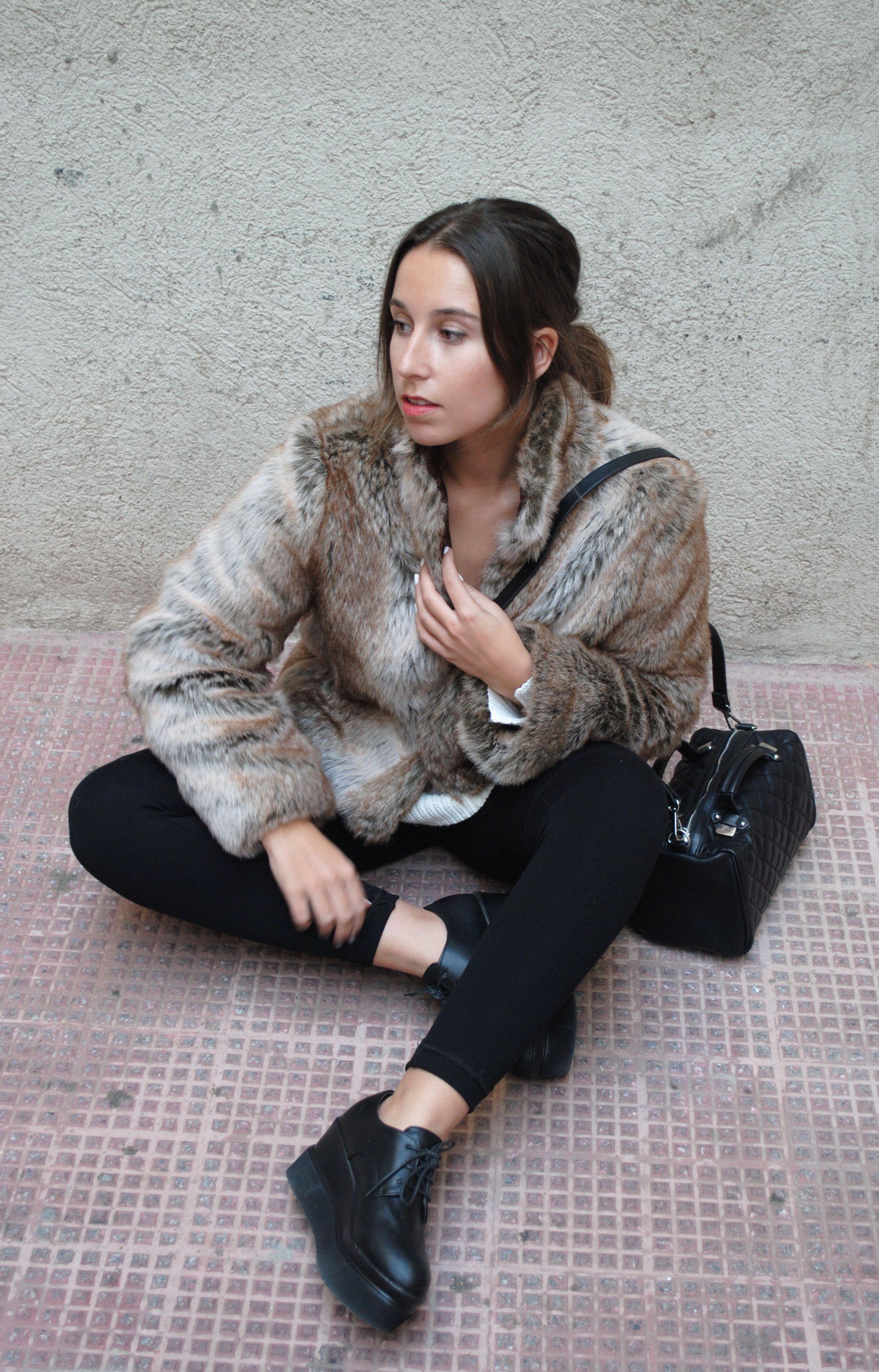 Women's Brown Fur Jacket, Beige Knit Oversized Sweater, Black ...