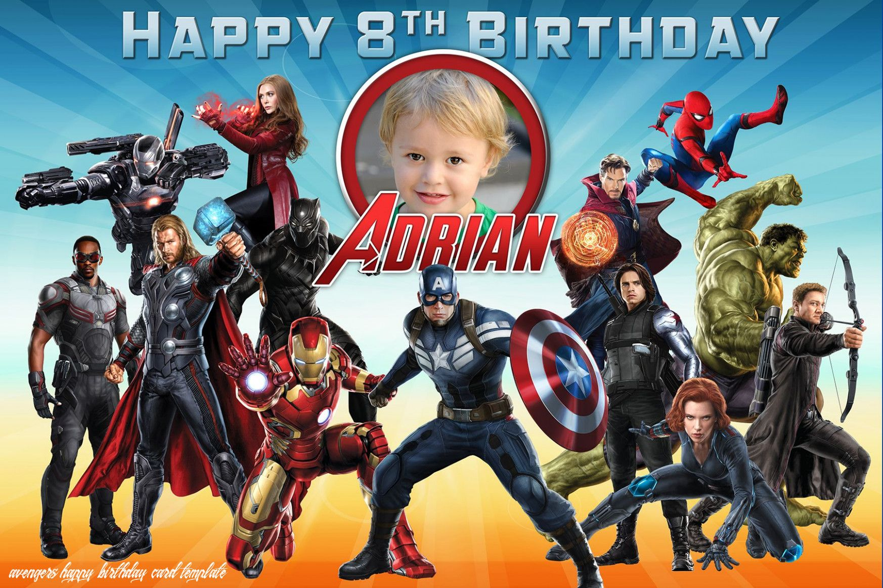 Avengers Happy Birthday Card Template In 2020 Birthday Card Template Avengers Birthday Happy Birthday Cards