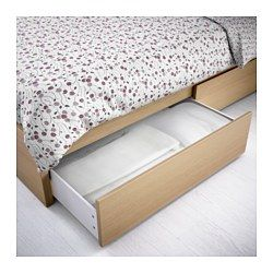Best Malm High Bed Frame 4 Storage Boxes White Stained Oak 640 x 480