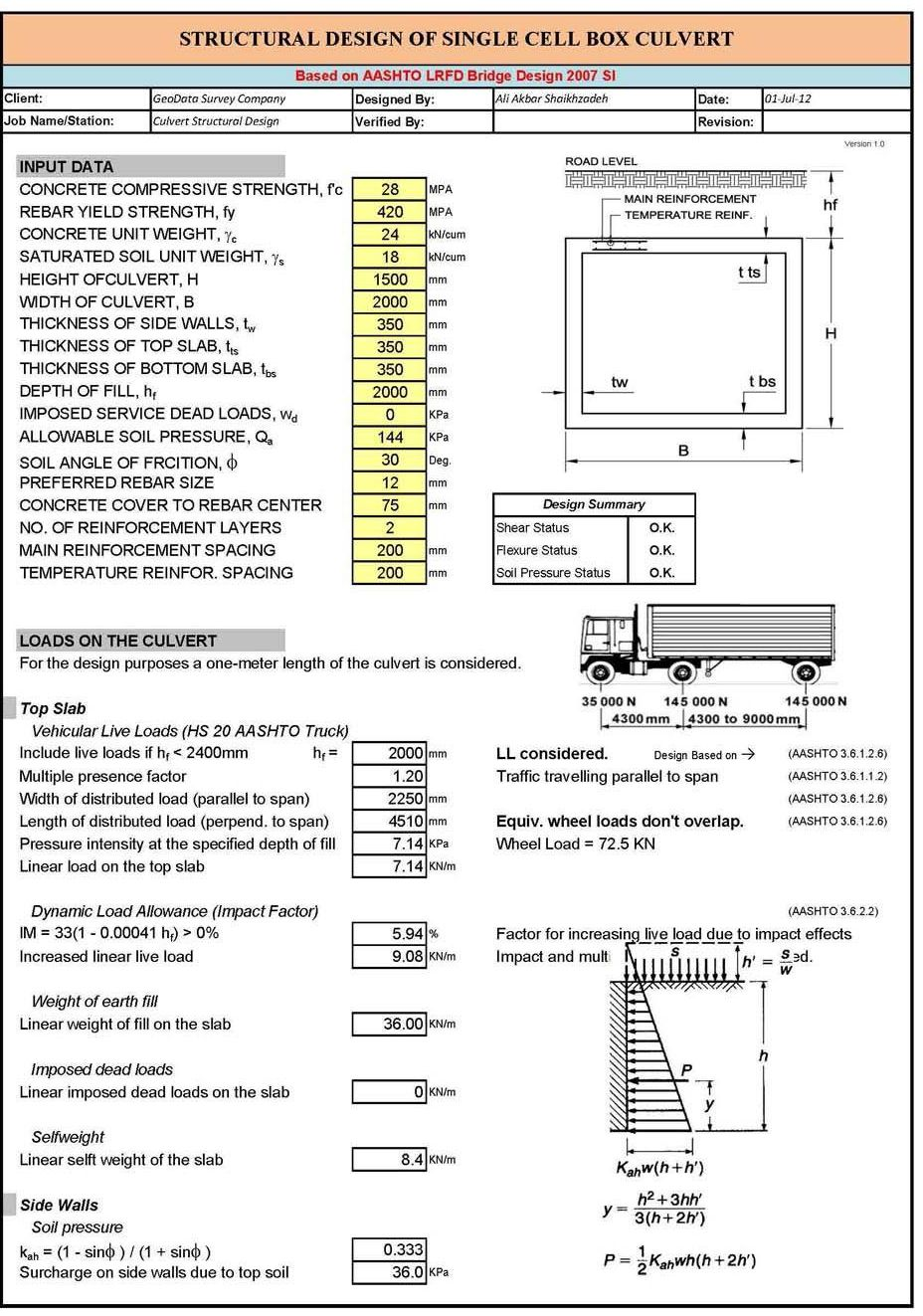 Box Culvert Design Spreadsheet شيتات اكسل Excel