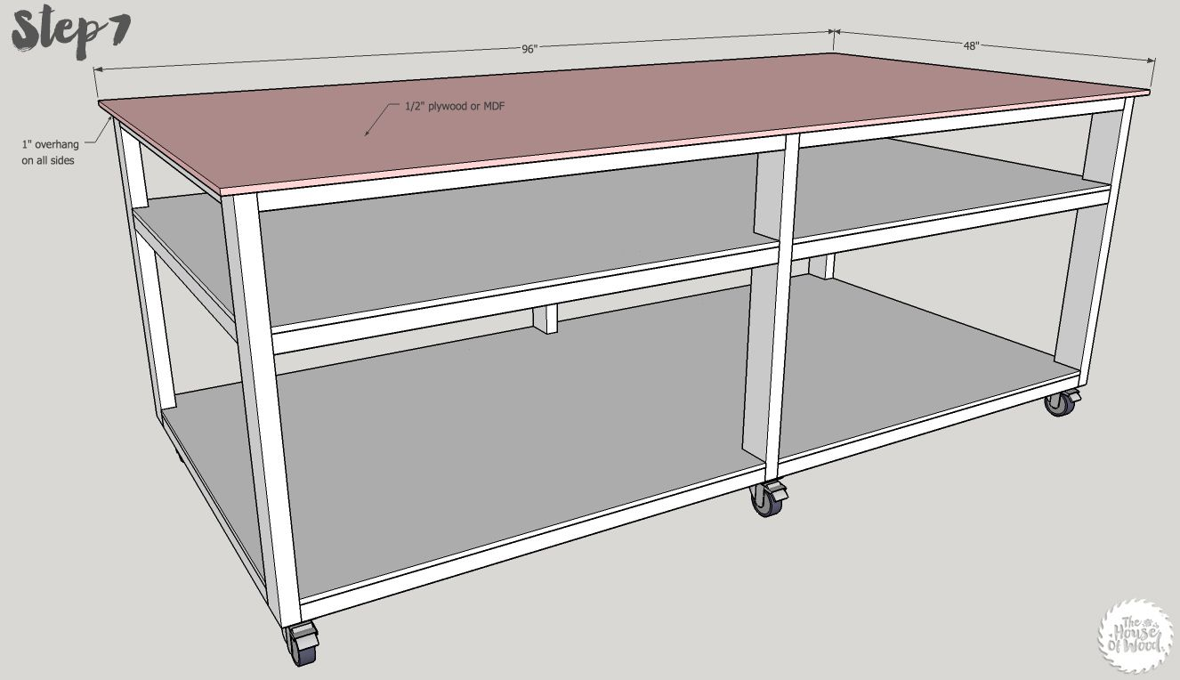 Diy Workbench With Wheels Build A Massive 4x8 Workbench On Wheels Get The Free Plans At