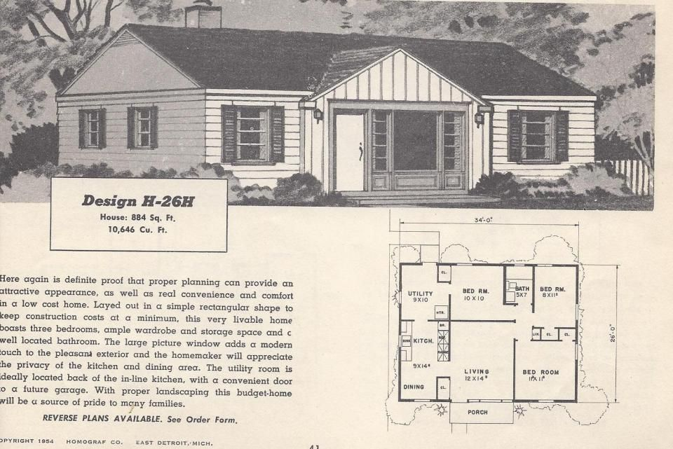 Vintage House Plans, Mid Century Houses, 1950s Homes