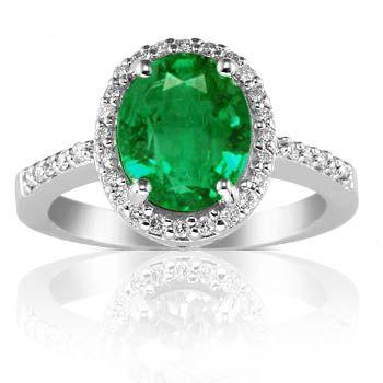 1.57ct Oval Cut Brilliant Round Emerald Natural Diamond Rings Ac