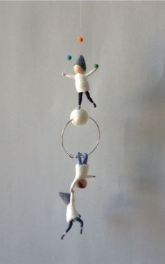 Waldorf inspired needle felted mobile, acrobat pixies, felted gnomes by lovebluecats on Etsy https://www.etsy.com/listing/249225437/waldorf-inspired-needle-felted-mobile