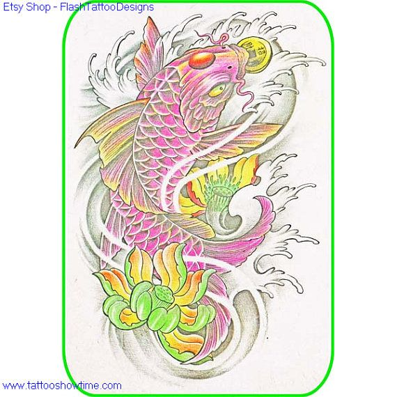 Koi & Flower Tattoo Design 3 for you on Etsy. Top quality ...