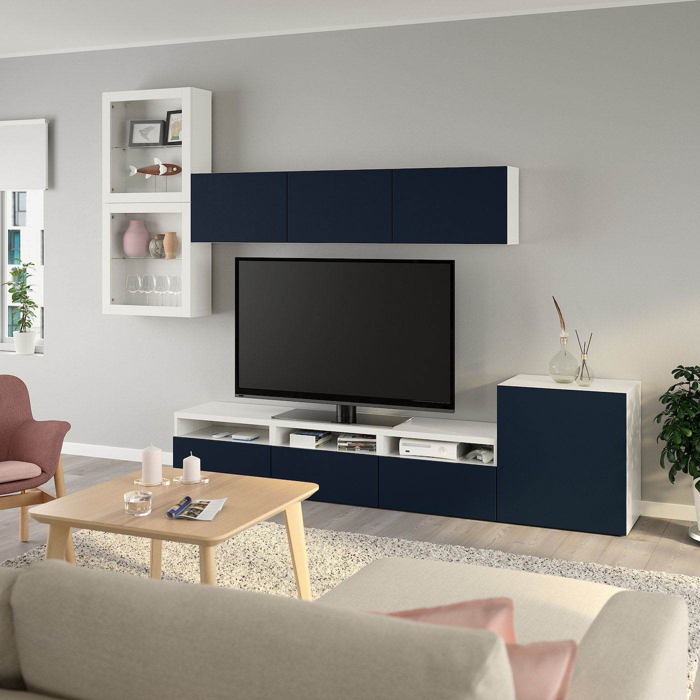 Ikea BestÅ Tv Storage Combination Glass Doors White Notviken Blue Aufbewahrung Wohnzimmer Wohnzimmerschränke Blaue Wohnzimmer