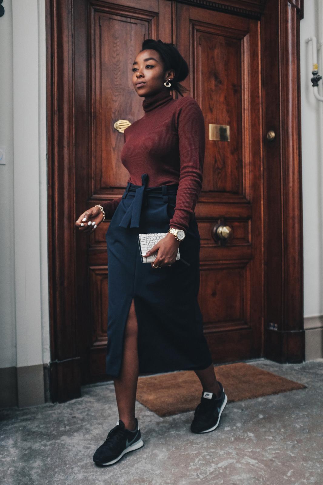 ribbed burgundy roll neck jumper navy zara belted midi skirt with split nike internationalist traine