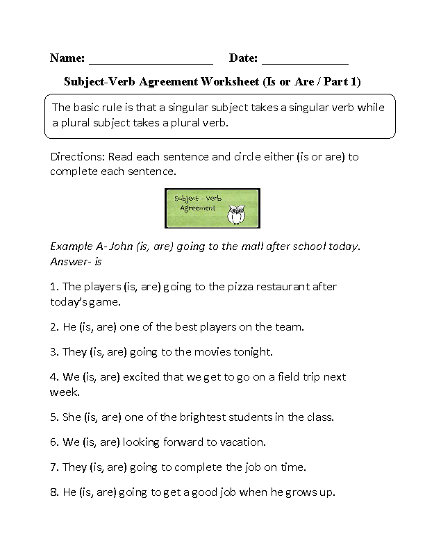 Is Or Are Subject Verb Agreement Worksheet Proyectos Que Intentar