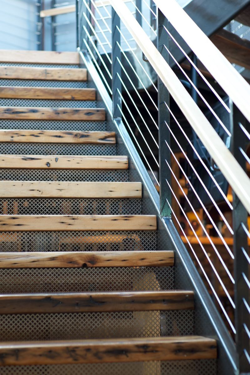 360 Degrees | Cafe Benelux {restaurant design, stairs, reclaimed wood,  steel, - 360 Degrees Cafe Benelux {restaurant Design, Stairs, Reclaimed