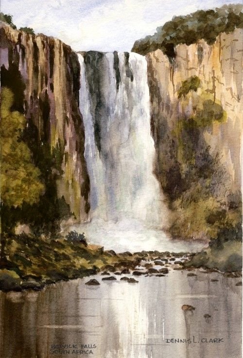 Learn how to paint large waterfalls in watercolors. 2 hour ...