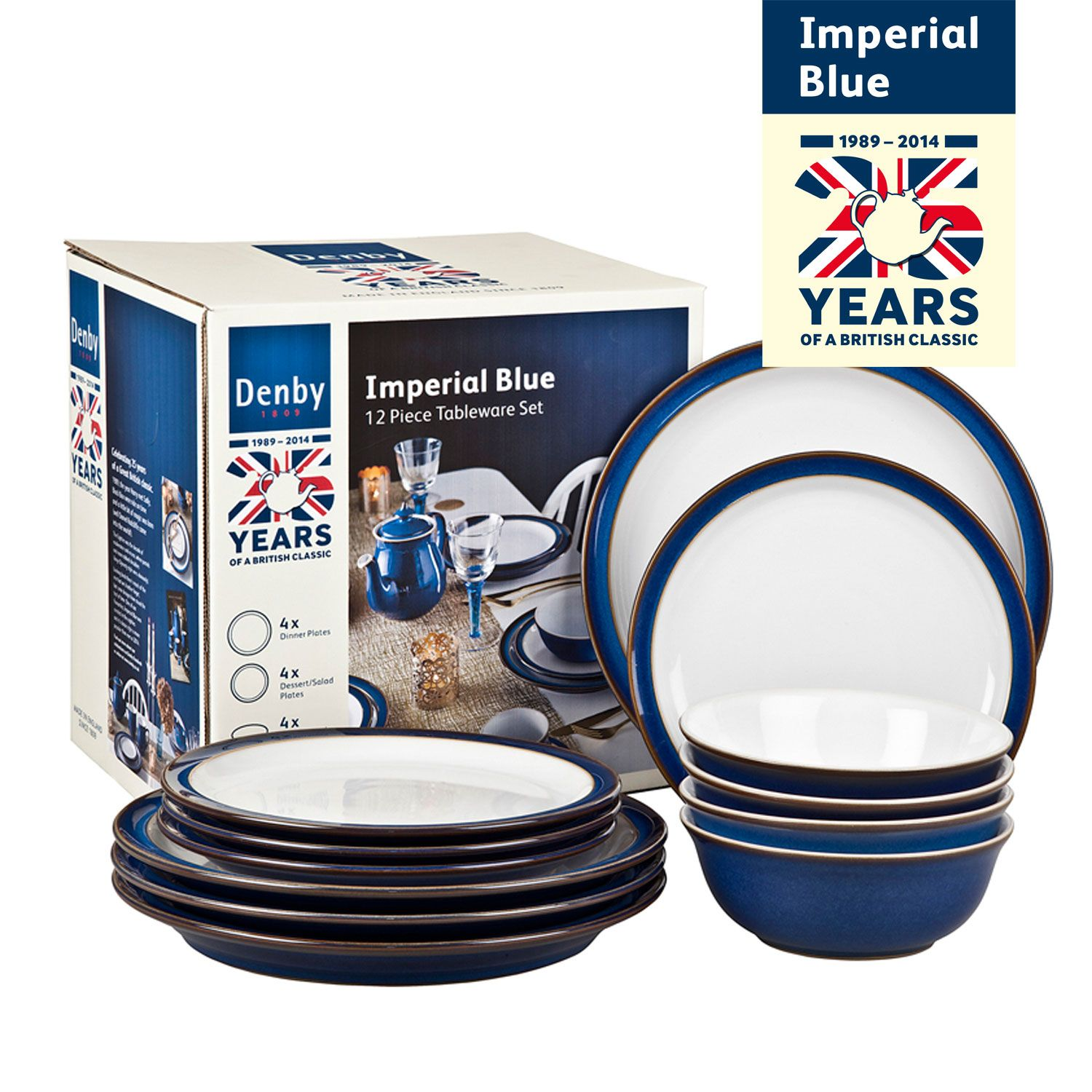 Denby Imperial Blue 12 Piece Dinner Set Aldiss Com 50 Off Rrp