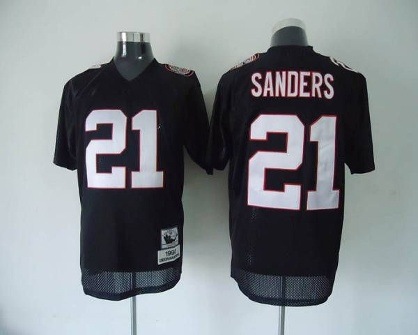 competitive price c3fd5 29da5 Mitchell and Ness Atlanta Falcons 21 Deion Sanders Black ...