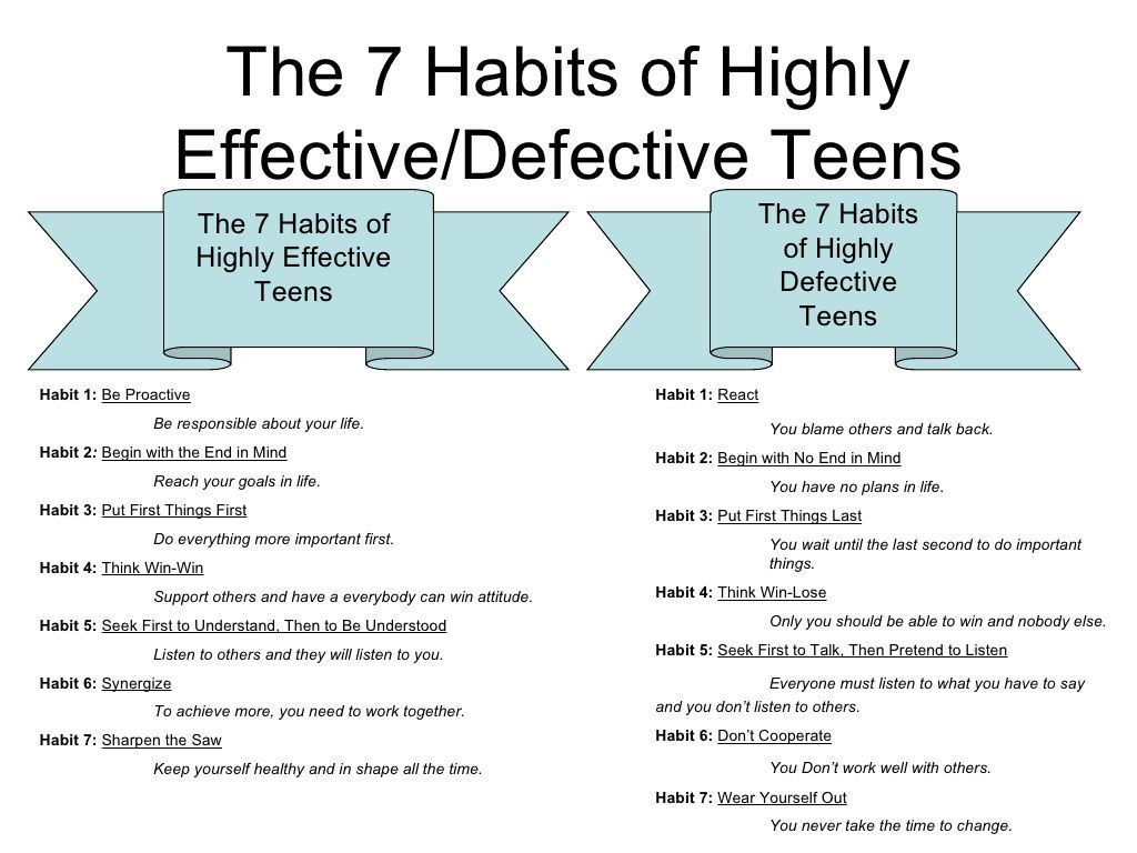 7 Habits Of Highly Effective Teens Highly Defective Teens