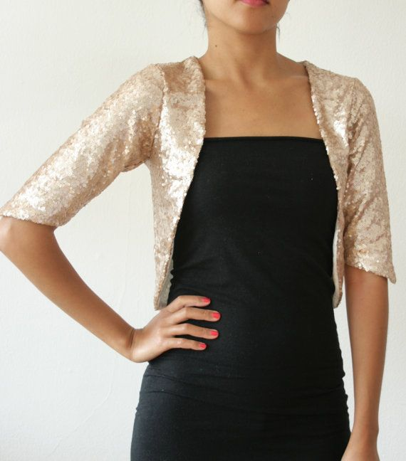 Gold Champagne Sequin Bolero Open Shrug Formal Wedding Or Bridal